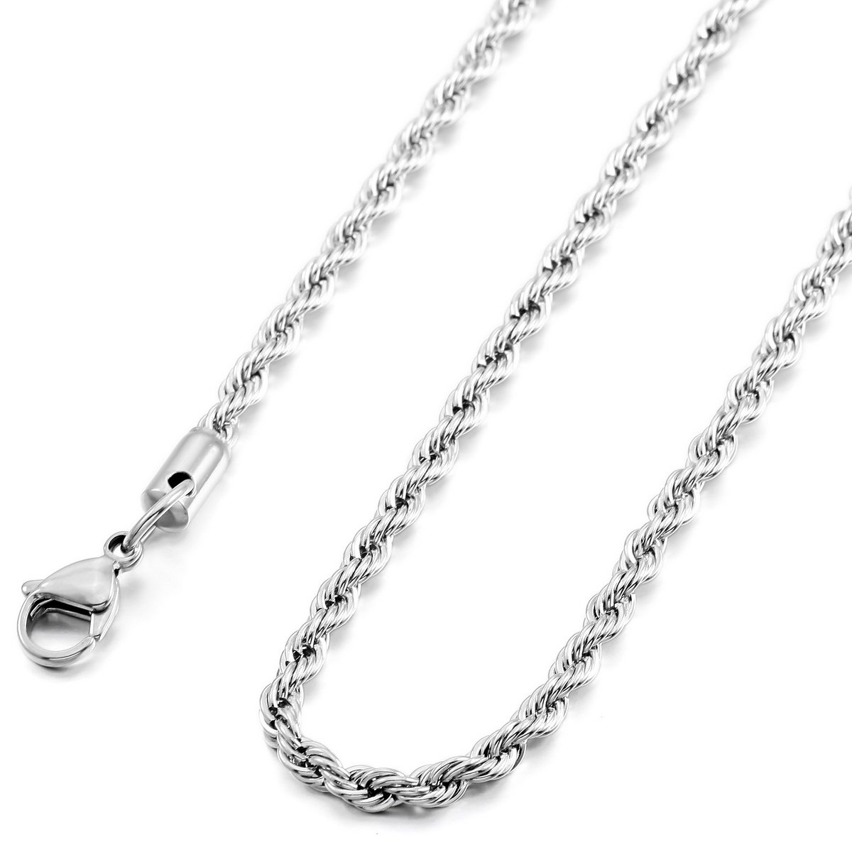 MOWOM Silver Tone 4.0mm Wide Stainless Steel Necklace Rope Chain Link 14~40 Inch ca5070004-4.0-14