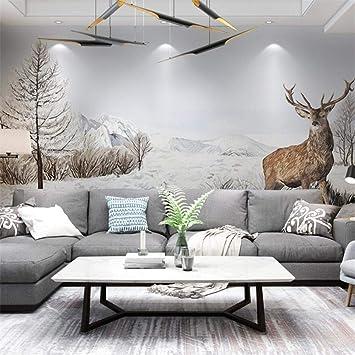 3d Vliesstoff Wallpaper Nordic Elch Wohnzimmer Tv Hintergrund Wand