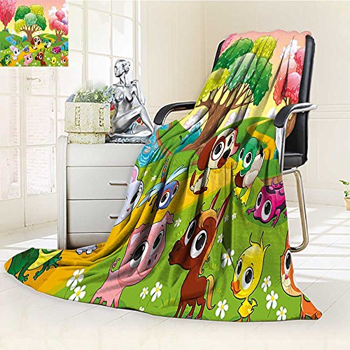YOYI-HOME Supersoft Fleece Throw Duplex Printed Blanket Cartoon Kids Nursery Room Decor Animals in The Forest with Nice Flowers Art Multicolor Anti-Static,2 Ply Thick,Hypoallergenic/W31.5