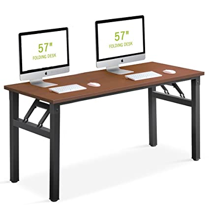 Folding Desk, Tribesigns 57 Inch Computer Office Desk Workstation No  Assembly Required, For Home