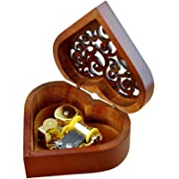 Heart Shape Vintage Wood Carved Mechanism Musical Box Wind Up Music Box Gift For Christmas/Birthday/Valentine's day Melody Castle in the Sky