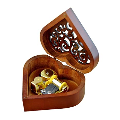 Heart Shaped Vintage Wood Carved Mechanism Musical Box Wind Up Music Gift For Christmas