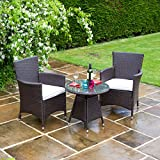 BillyOh Rosario Flat Weave Rattan Couple Bistro Set - Includes Cushions