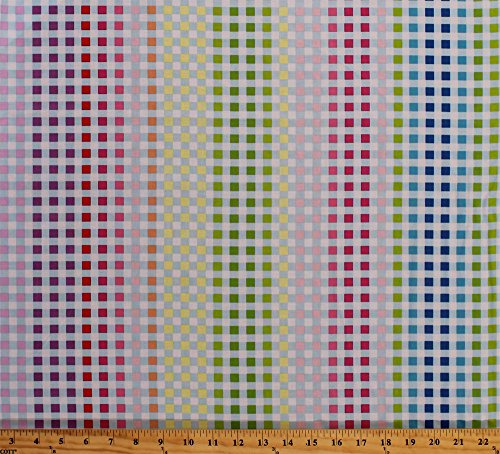 (Cotton Manhattan Modern Multi-Color Gingham Check Squares Checkered Colorful Cotton Fabric Print by the Yard (02748-99))