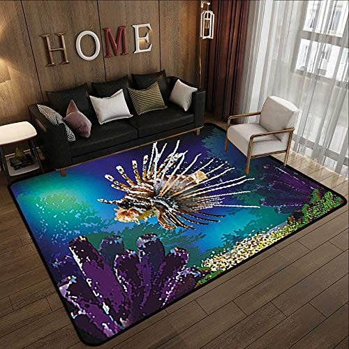 Super Cozy Bathroom Rug Carpet,Ocean,Underwater World Exotic Bubble Fish and Plants Nautical Theme Illustration,Blue Brown Purple 59