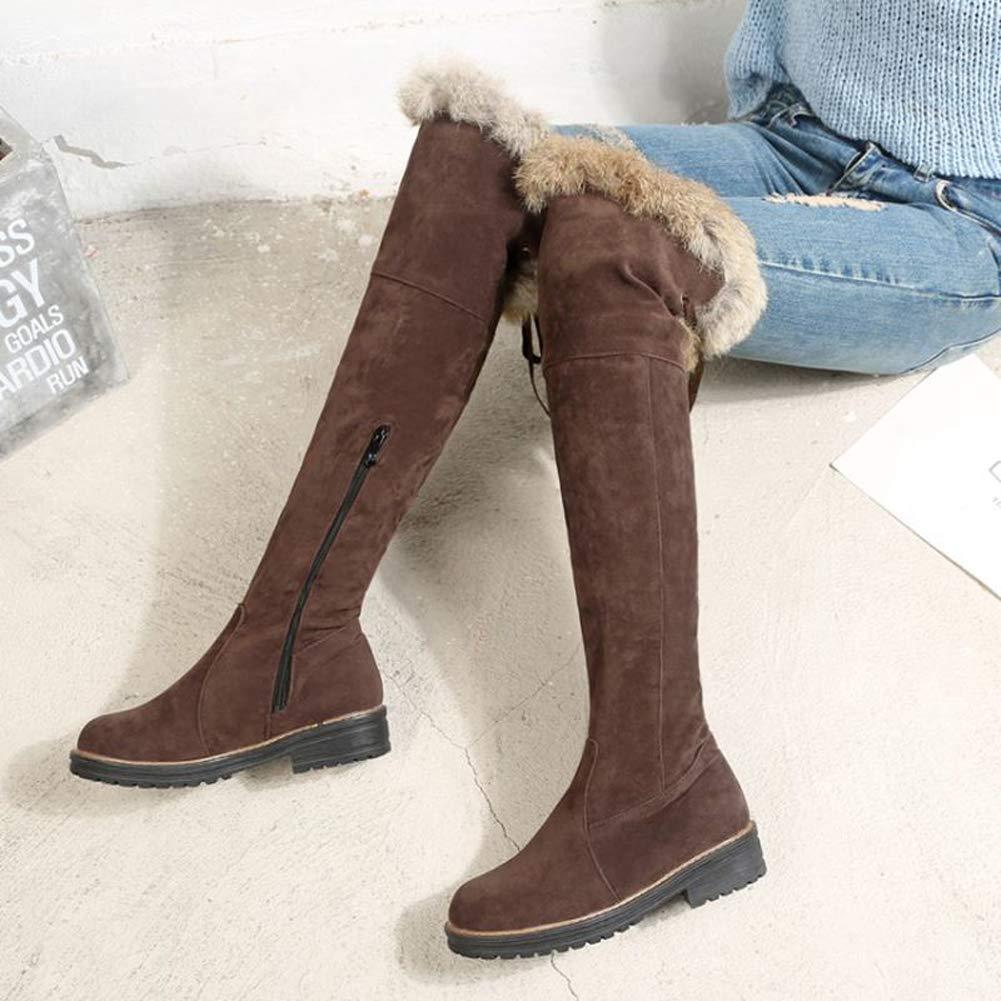 Frauen Winter Kniehohe Stiefel Schnüren Schnüren Schnüren Komfortable Lässige Schuhe Pelz Gefüttert Niedrigen Flachen Ferse Damen Plüsch Warme Schuhe 94bf7c