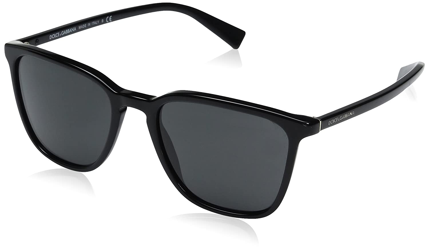 Dolce & Gabbana Mens Acetate Man Square Sunglasses, Black, 53 mm