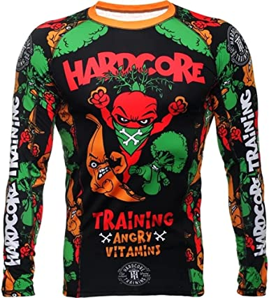 Hardcore Training Angry Vitamins Rash Guard Mens Camisa de Compresión Hombre MMA BJJ Boxeo Fitness Grappling No Gi