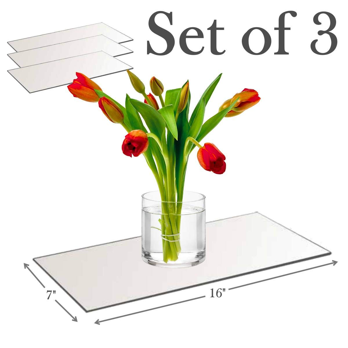 7''x16'' Rectangle Mirror Plate with Round Edge Set of 3 - Glass Mirror Tray, Base for Wedding Centerpieces, Candles and Wall Decor