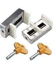 Pack de 2 cerraduras correderas para ventanas con tapón de seguridad para puerta de seguridad de