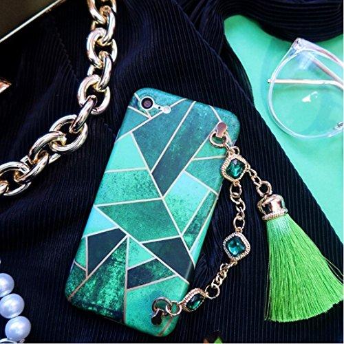 Phone case & Hülle Für iPhone 6 / 6s, Geometrische Abbildung Voller Abdeckung Weiche schützende rückseitige Abdeckungs-Fall mit Diamant-Ketten-Troddeln Anhänger