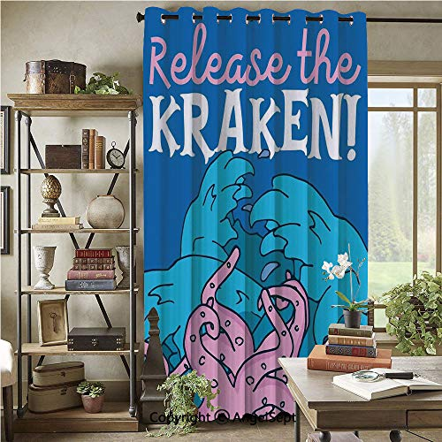 Blackout Curtains with Grommet,Release The Kraken Motivation Quote Print with Grunge Modern Illustration,72x96inch(1 Panels),Pink Royal Blue]()
