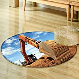 Dining Room Home Bedroom Carpet Floor Mattrack Type Loader Excavator Machine Doing earthmoving Work at Sand Quarry  Non Slip Rug-Round 59""