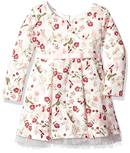Youngland Girls Toddler Knit Quilted Vintage Bird Floral Printed Dress