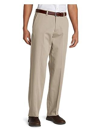 b12a4289910 Eddie Bauer Men s Performance Dress Flat-Front Khaki Pants - Relaxed ...