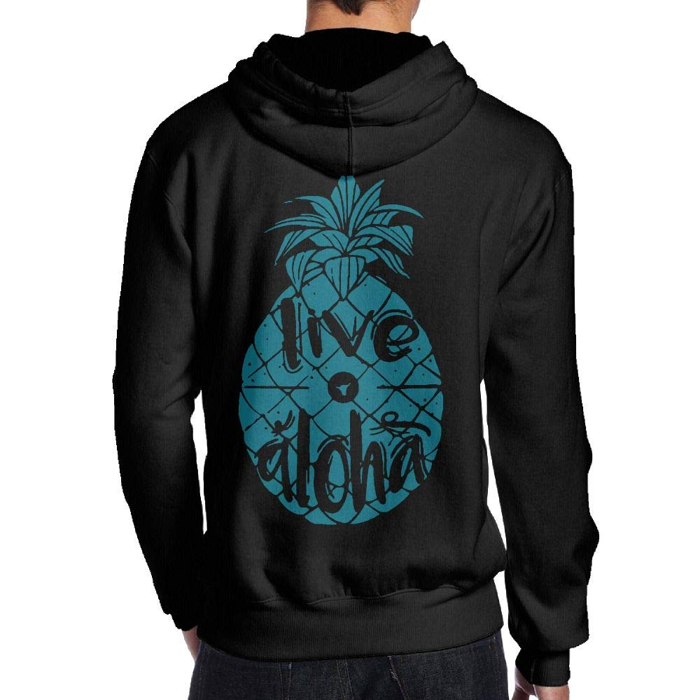 JHDKDGH-N Live Aloha Pineapple Back Print Long Sleeve Hoody for Men
