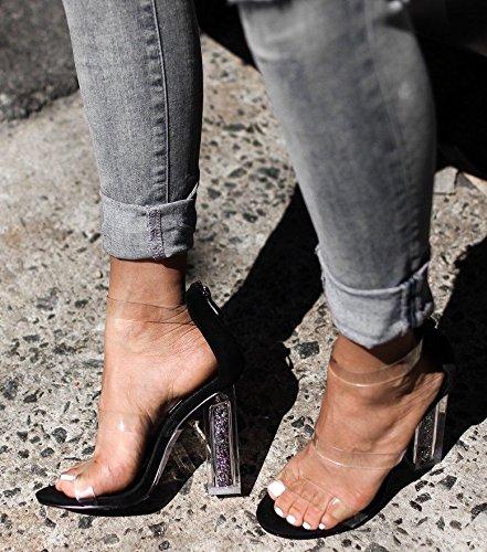 Maria Glitter Black Robbin Black Cape Shoe Peep Block Lucite Perspex 7 Clear Toe Sandal Heel Open Y65wZwqd