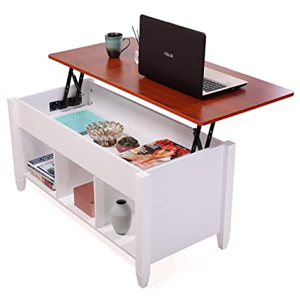 JAXPETY Lift Top Coffee Table Adjustable Height Storage Living Room  Furniture Stylish White