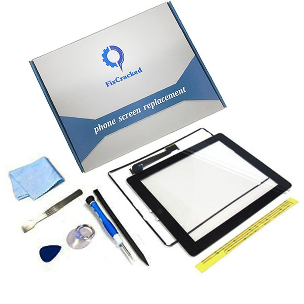iPad 4 Screen Replacement,FixCracked iPad4 Digitizer Touch Screen Front Glass Assembly Black-Includes Home Button + Camera Holder + PreInstalled Adhesive with tools kit