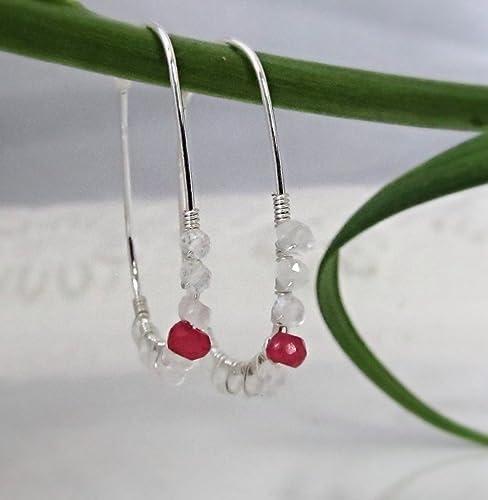 July Birthstone Sterling Silver Ruby Earrings Ruby Jewelry Tiny Ruby Dangle Earrings