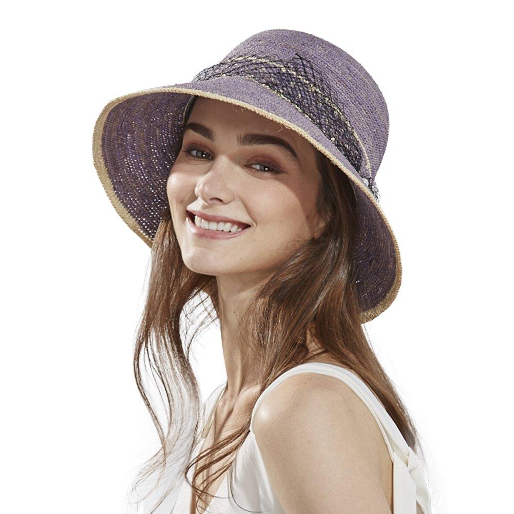 Womens Raffia Straw Sun Hat Fedora Summer Wide Brimmed Beach Accessories Foldable Cloche Derby Purple