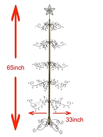 HOHIYA Ornament Display Tree Stand Metal Christmas Wire Hook Hanger Dog Cat Glass Bauble 84inch Gold