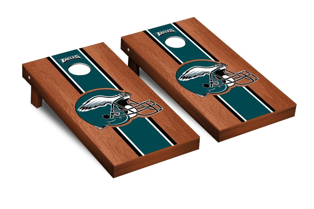 NFL Philadelphia Eagles Rosewood Stained Stripe Version Football Corn hole Game Set, One Size