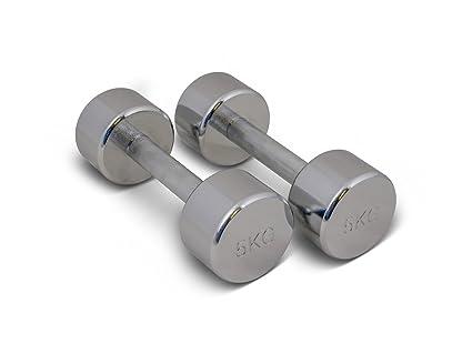 TRENAS Par de mancuernas cromadas - entrenamiento con pesas - 2 x 9,00 kg: Amazon.es: Deportes y aire libre