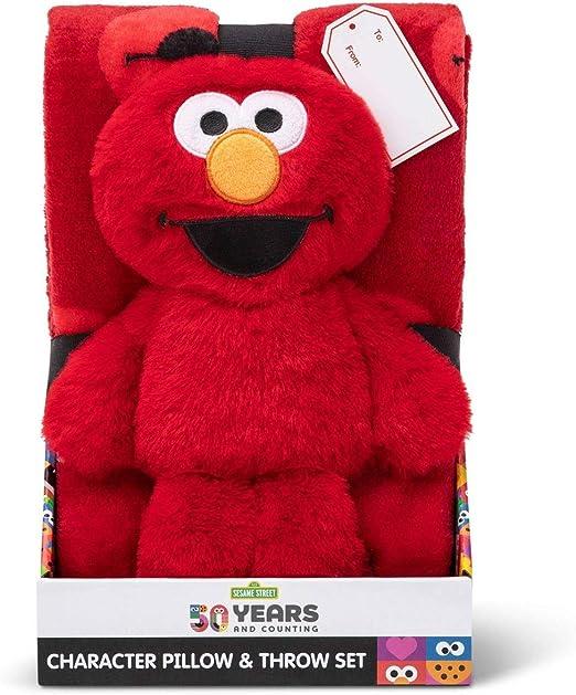Sesame Street Elmo Character Pillow /& Silk Touch 40 x 50 inch Throw with Elmo Pillow Buddy