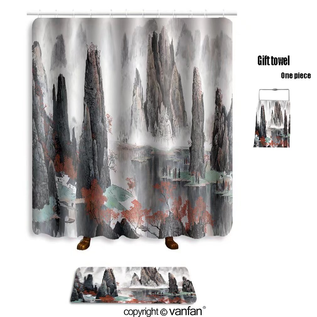 vanfan bath sets with Polyester rugs and shower curtain chinese landscape misty mountains and water 5 shower curtains sets bathroom 48 x 72 inches&23.6 x 15.7 (Free 1 towel and 12 hooks)