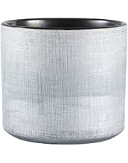 "Rivet Rustic Textured Stoneware Planter, 6.25""H, Silver"