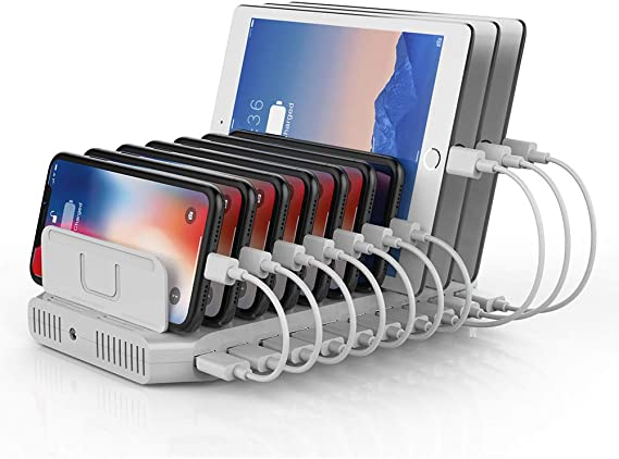 Unitek Multi Charging Station, 10-Port USB Charger for Multiple Device with SmartIC Tech and Adjustable Dividers, Organizer Stand Compatible with ...