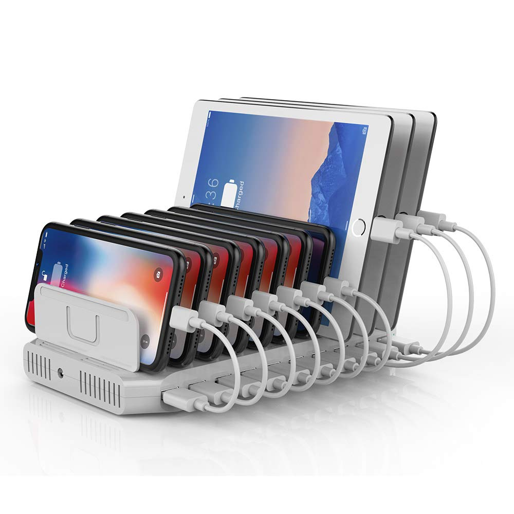 Unitek Multi Charging Station, 10-Port USB Charger for Multiple Device with SmartIC Tech and Adjustable Dividers, Organizer Stand Compatible with iPad, Tablet, Kindle, iPhone by Unitek