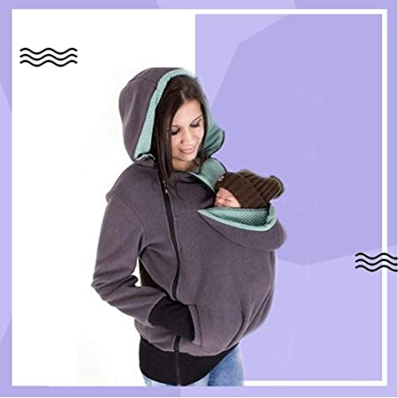 32684888d30 Amazon.com   Heitaisi Mothers Hoodies with Baby Sleeping Bag Dual-Purpose Childcare  Bag Multifunctional Removable Infant Sweater Bag Babies Kangaroo Bag   ...