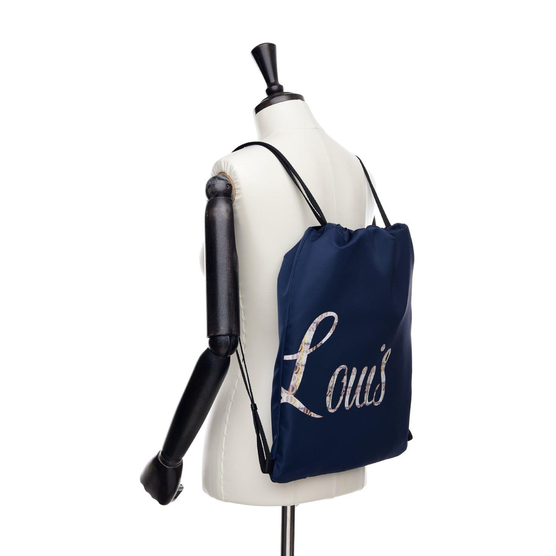 LOUIS QUATORZE Navy Nylon Drawstring Backpack Sack Bag with LOUIS Monogram HM1EV73NA One Size
