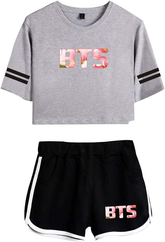 Cool Summer BTS Dos Casual Piezas Moda para Mujer Pantalones Moda Completi Cortos Armario Damas Pantalones Cortos para Verano Pantalón Corto Camiseta De Manga Corta Y Camiseta Negra para Mujer Blanca: Amazon.es: