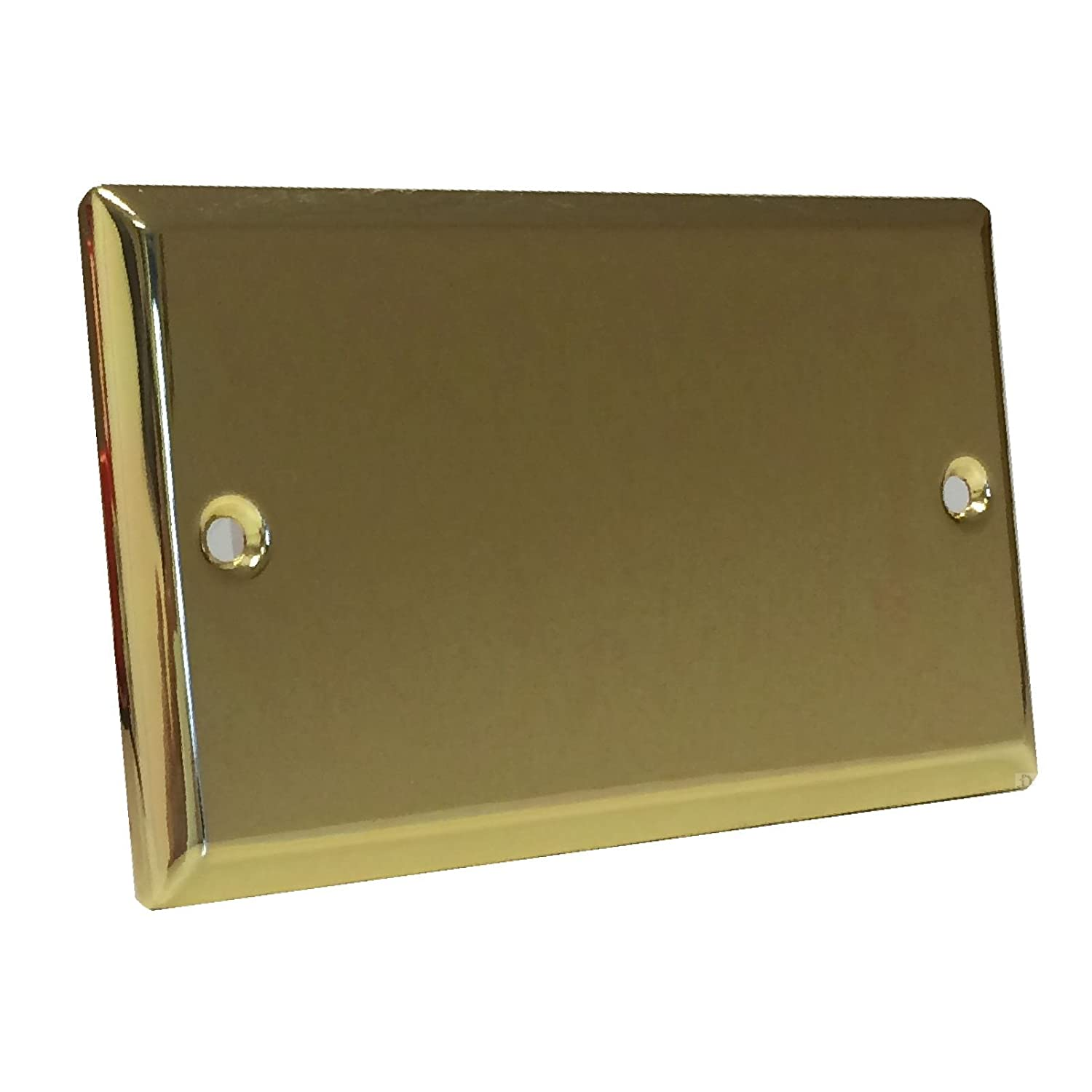 Double Blanking Plate Victoria Brass 2 Gang Blank Bright Brass Electrical Cover Red and Grey