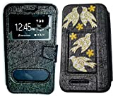 BKDT Marketing Diamond studded, Stone Glittering Flip Cover Case Stand for MICROMAX Canvas Juice 4G Q461 with Dislay Window and Stand with Crystals Decoration