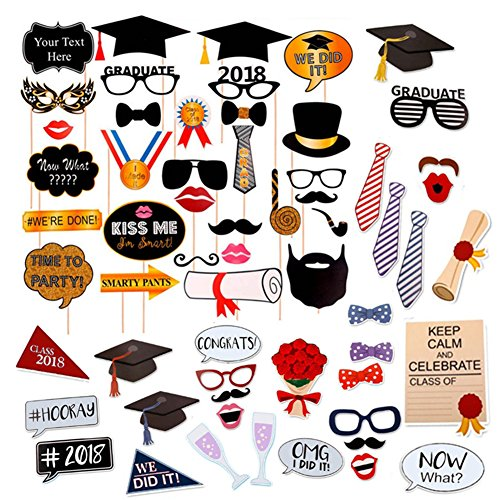Sadun Graduation Photo Booth Props (60Count), Large Glitter Graduation Photo Props Class of 2019 Grad Decor with Sticks for Kids Boy Girl, Black and Gold, for Party Favors Supplies Decorations]()