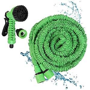 yhanonal 25ft Manguera de agua Manguera de jardín flexible manguera para gran Impresión Juego de manguera de jardín profesional Verde