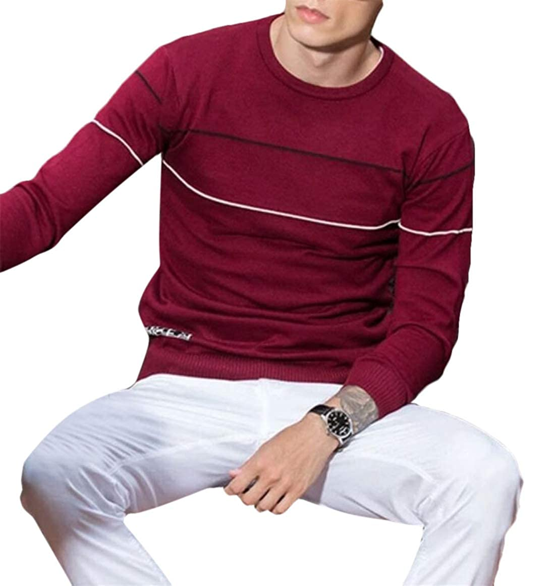 Spirio Mens Casual Crewneck Long Sleeve Striped Knit Slim Fit Pullover Top Sweater
