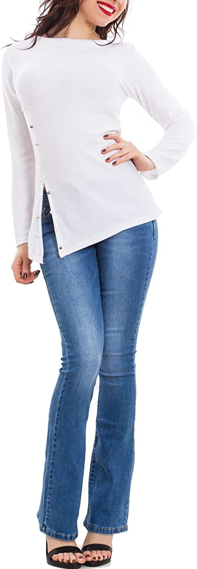 Maglia donna spacco perline top manica lunga aderente nuovo AS-1729