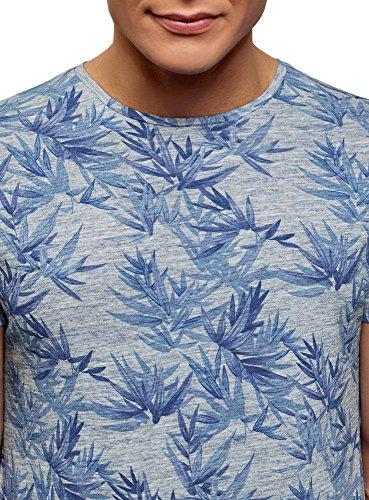 Stampata Uomo Con Rotondo 2075f shirt Oodji T Blu Ultra Scollo BTqn6v