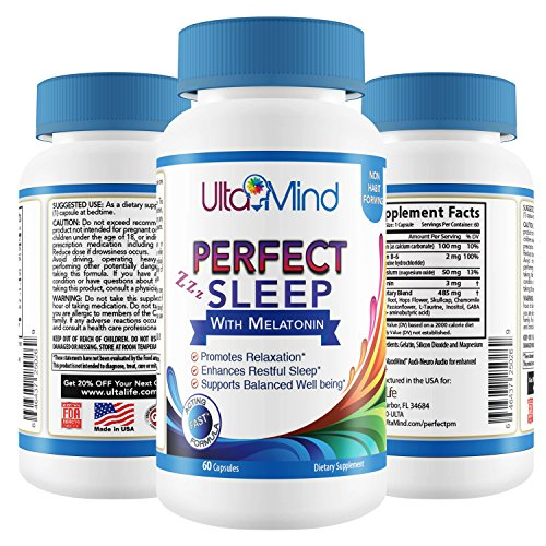 PERFECT SLEEP Natural Sleep Aid Pills - Fast Relaxation & Full Restful Night - Stay Asleep - Wake Up Refreshed - Safe Non-Habit Forming Formula w/ Melatonin & Valerian Root - 100% Money Back Guarantee