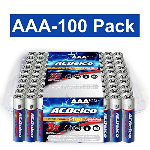 ACDelco AAA Batteries, Alkaline Battery, Bulk Pack, 100 Count by ACDelco