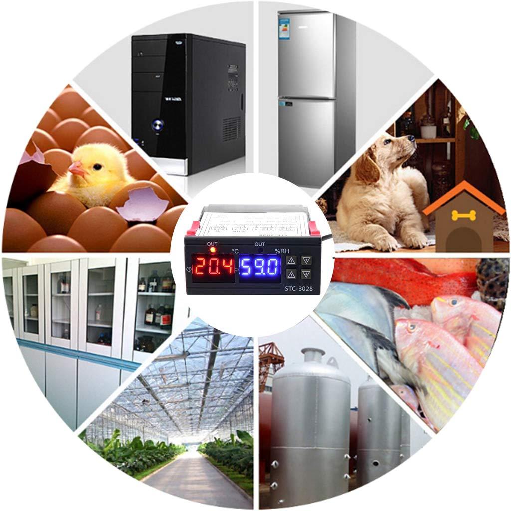 CC doble pantalla CA 110 V 10 A 12v Controlador de temperatura y humedad digital 12 V termostato y humidificador 24 V YiFeiCT 220 V
