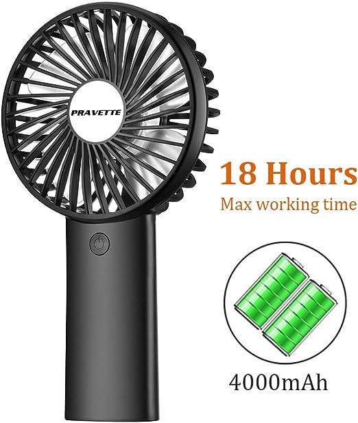 Color : White Mini Portable Cooling Fan USB Table Fan 4000mAh Charging Small Fan 3 Speed Mute Dual-use Handheld Desktop Fan
