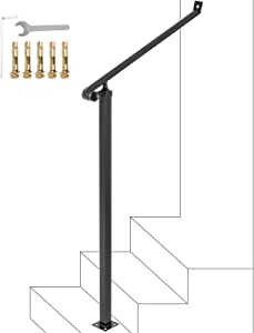Happybuy Iron Handrails for Outdoor Steps 40mm Pipe 2 Steps Railings Iron Handrail Stair Railings for Steps Black Iron Railings for Steps Wrought Iron Handrail Step Railing Handrails