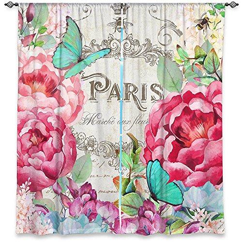 - Dia Noche Unlined Window Curtains Tina Lavoie - Paris Flower Market 2