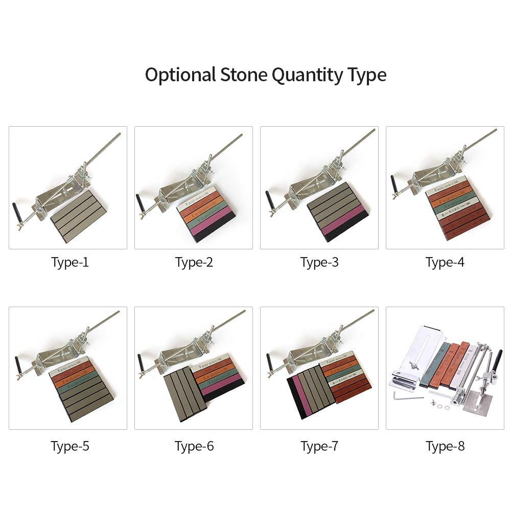 KKmoon Kit de Afilador de Cuchillos de Angulo Fijo Mejorado Piedras de Afilar de Full Metal Stainless Steel Professional
